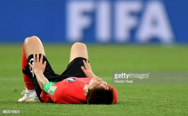 Sungyueng Ki of Korea Republic looks dejected following his sides defeat in the 2018 FIFA World Cup Russia group F match between Korea Republic and...