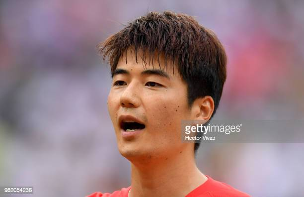 Sungyueng Ki of Korea Republic sings the national anthem prior to the 2018 FIFA World Cup Russia group F match between Korea Republic and Mexico at...
