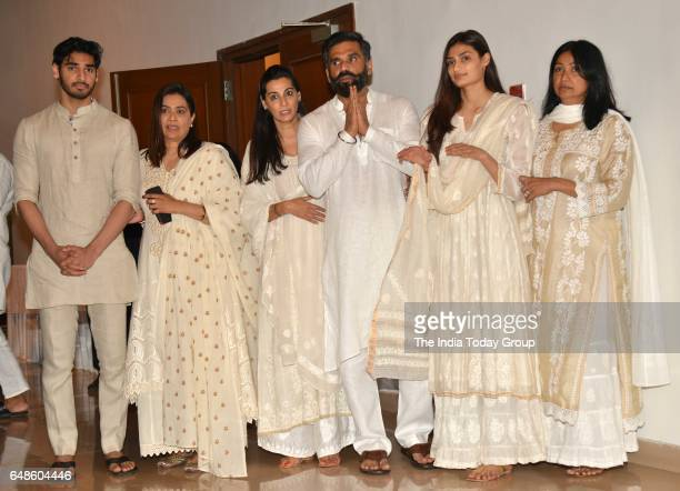 Suniel Shetty with his wife Mana Shetty daughter Athiya Shetty and son Aahan Shetty during his father Veerapa Shetty prayer meeting in Mumbai