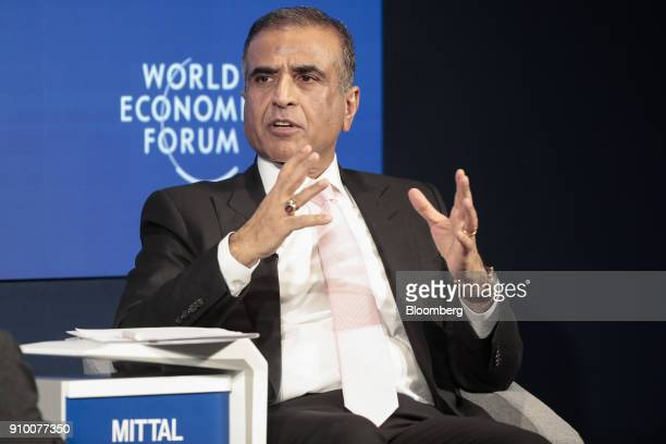 Sunil Bharti Mittal billionaire and chairman of Bharti Airtel Ltd gestures as he speaks during a panel session on day three of the World Economic...