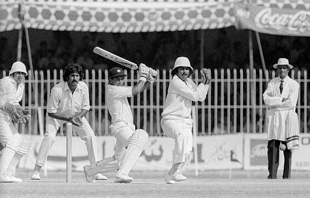 Sunil Gavaskar batting for India during the 2nd Test match between Pakistan and India at Lahore Pakistan 29th October 1978 Wasim Bari is the...