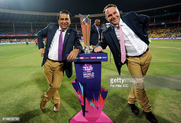 Sunil Gavaskar cricket commentator and former Indian cricketer and Michael Slater cricket commentator and former Australian cricketer pose with the...