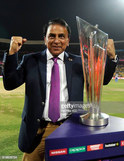 Sunil Gavaskar cricket commentator and former Indian cricketer poses with the ICC trophy before the start of the ICC World Twenty20 India 2016 match...