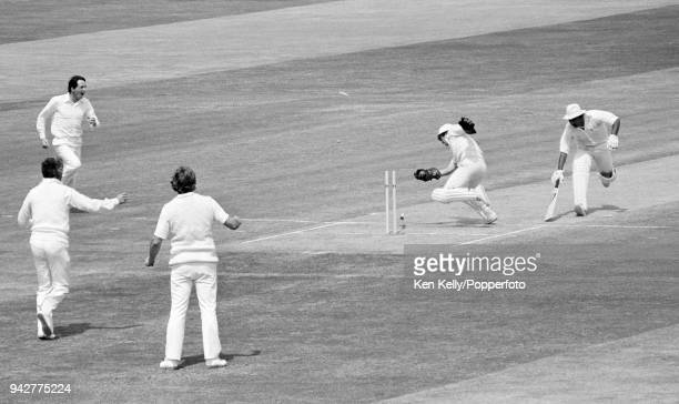 Sunil Gavaskar of India is run out for 61 runs by England wicketkeeper Bob Taylor during the 1st Test match between England and India at Edgbaston...
