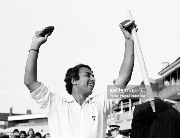 Sunil Gavaskar of India with his man of the match medal and souvenir stump during the presentation ceremony after the 4th Test match between England...