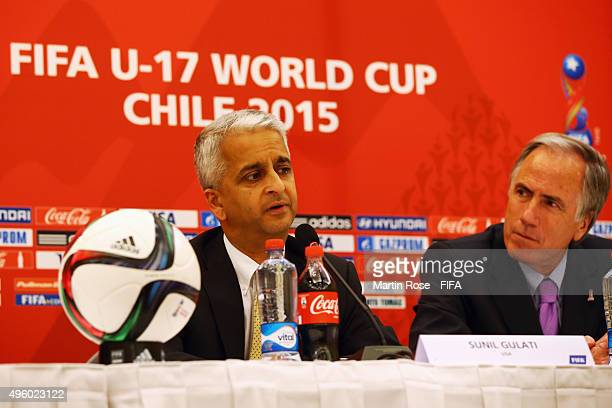 Sunil Gulati Chairman Organizing Committee FIFA U17 World Cup Chile 2015 and Cristian Varela chairman of the Local Organising Committee attend the...