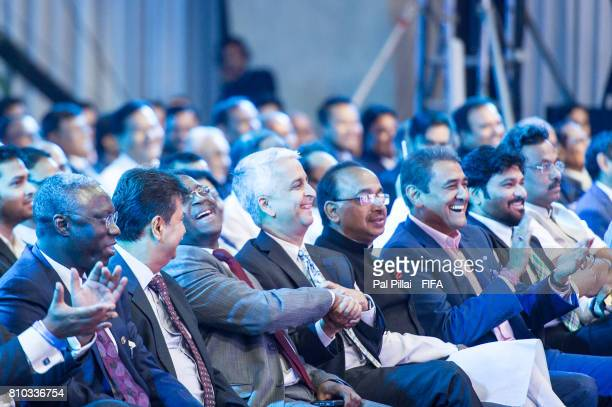 Sunil Gulati FIFA Council member Vijay Goel Sports Minister India and Praful Patel President AIFF along with other dignitaries during FIFA U17 World...