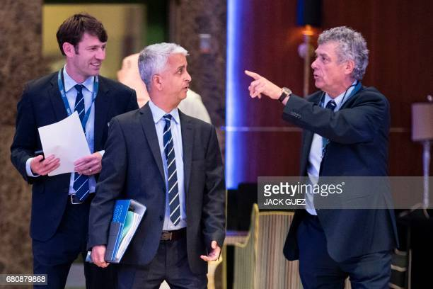 Sunil Gulati President of the United States Football Federation and Angel Maria Villar President of the Spanish Football Federation chat as they...