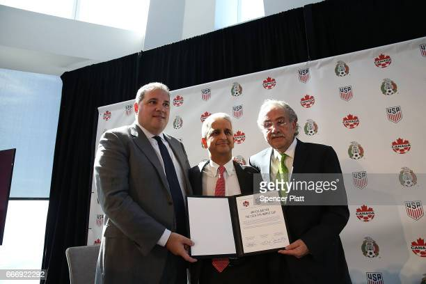 Sunil Gulati president of the United States Soccer Federation Canadian CONCACAF President Victor Montagliani and Mexican Football Federation...