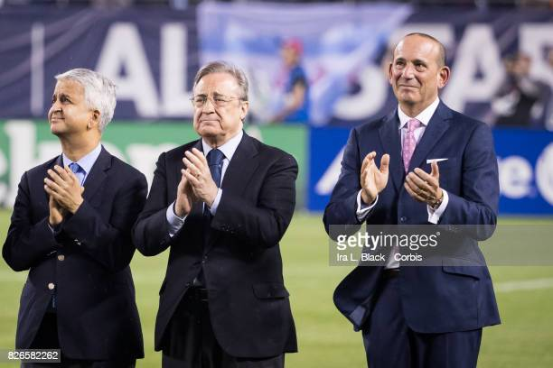 Sunil Gulati President of the United States Soccer Federation Florentino Pérez president of Real Madrid and Don Garber Commissioner of MLS clap at...