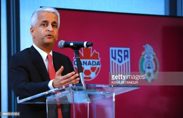 Sunil Gulati President of United States Soccer Federation attends a press conference on April 10 2017 at the One World Trade Center in New York The...
