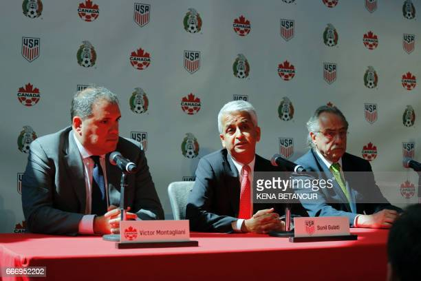 Sunil Gulati President of United States Soccer Federation speaks next to Victor Montagliani CONCACAF President and Decio de Maria President of the...