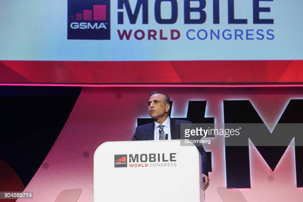 Sunil Mittal chairman of Bharti Airtel Ltd speaks during a keynote session on the opening day of the Mobile World Congress in Barcelona Spain on...
