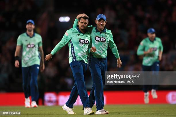 Sunil Narine and Colin Ingram of Oval Invincibles celebrate during The Hundred match between Oval Invincibles Men and Trent Rockets Men at The Kia...