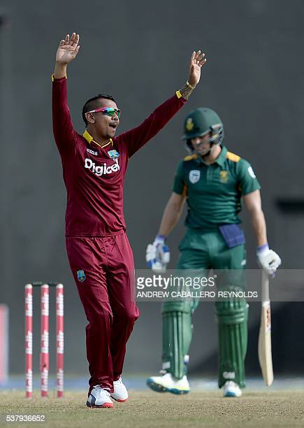 Sunil Narine celebrates dismissing South Africa's Farhaan Behardien by a leg before wicket during the first Oneday International cricket match...