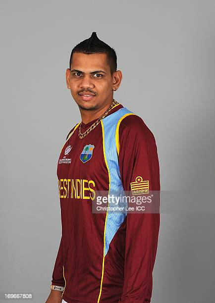 Sunil Narine during the West Indies Portrait Session at The St Davids Hotel on May 30, 2013 in Cardiff, Wales.