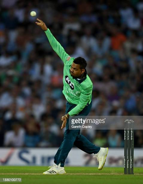 Sunil Narine of Oval Invincibles bowls during the Hundred match between Oval Invincibles and Manchester Originals at The Kia Oval on July 22, 2021 in...
