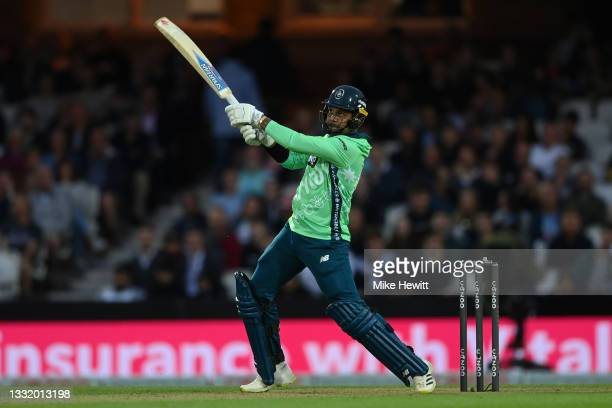 Sunil Narine of Oval Invincibles Men hits a six during The Hundred match between Oval Invincibles Men and Welsh Fire Men at The Kia Oval on August...