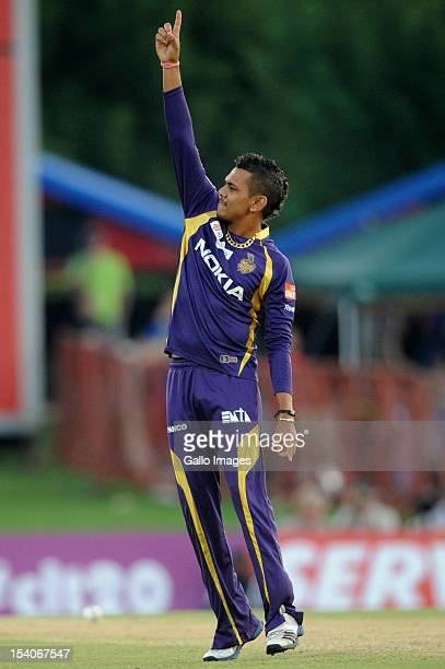 Sunil Narine of the Knight Riders celebrates capturing the wicket of Mahela Jayawardene of the Daredevils during the Karbonn Smart CLT20 Group A...