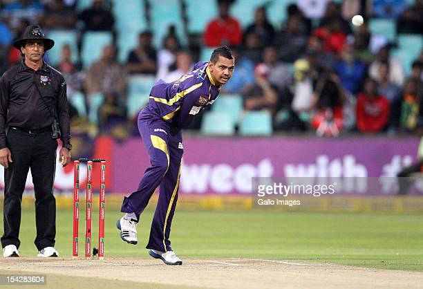Sunil Narine of the Kolkata Knight Riders bowls during the Karbonn Smart CLT20 match between Kolkata Knight Riders and Perth Scorchers at Sahara...