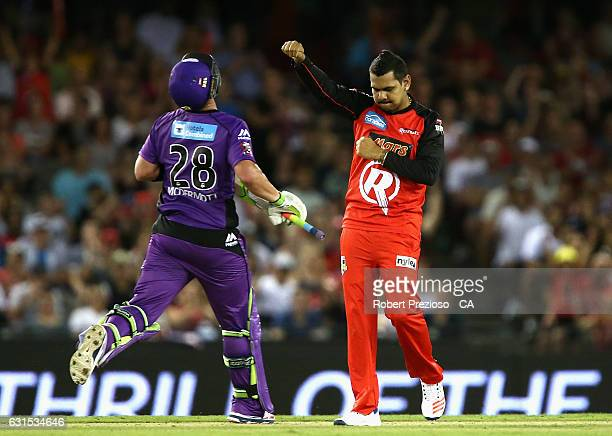 Sunil Narine of the Renegades celebrataes the wicket of Ben McDermott of the Hurricanes during the Big Bash League match between the Melbourne...