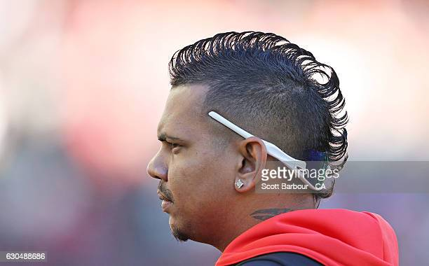 Sunil Narine of the Renegades looks on during the Big Bash League match between the Melbourne Renegades and Sydney Thunder at Etihad Stadium on...