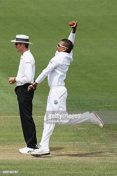 Sunil Narine of the West Indies bowls during day three of the Third Test match between New Zealand and the West Indies at Seddon Park on December 21,...