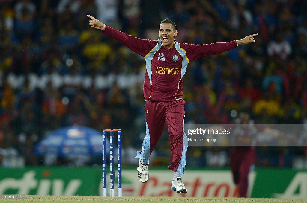 Sunil Narine of the West Indies celebrates dismissing Sri Lanka captain Mahela Jayawardene during the ICC World Twenty20 2012 Final between Sri Lanka and the West Indies at R. Premadasa Stadium on October 7, 2012 in Colombo, Sri Lanka.