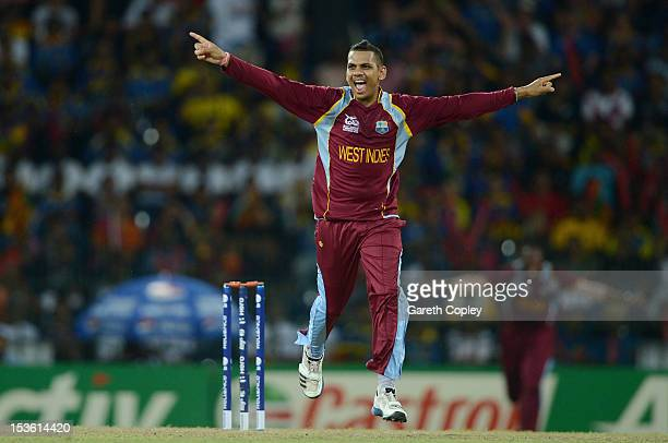 Sunil Narine of the West Indies celebrates dismissing Sri Lanka captain Mahela Jayawardene during the ICC World Twenty20 2012 Final between Sri Lanka...