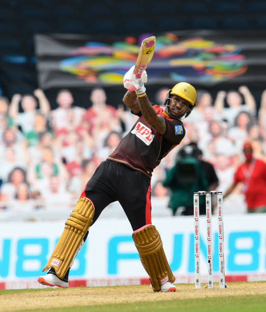 Sunil Narine of Trinbago Knight Riders hits 6 during the Hero Caribbean Premier League match 1 between Trinbago Knight Riders and Guyana Amazon...