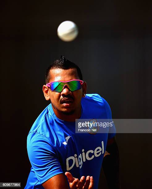 Sunil Narine of West Indies bowls during a nets session at Dubai Cricket Stadium on September 22, 2016 in Dubai, United Arab Emirates.