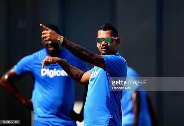 Sunil Narine of West Indies looks on during a nets session at Dubai Cricket Stadium on September 22, 2016 in Dubai, United Arab Emirates.