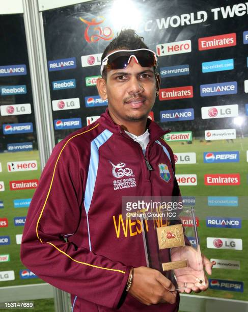 Sunil Narine of West Indies Man of the Match in the Super Eights Group 1 match between New Zealand and West Indies at Pallekele Cricket Stadium on...