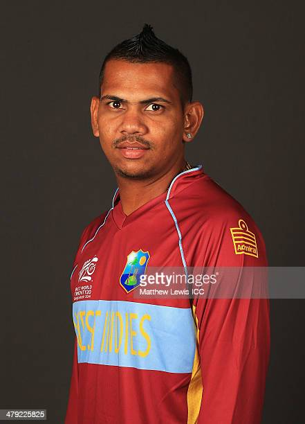 Sunil Narine of West Indies poses for a portrait during a Headshot session at the Ruposhi Bangla Hotel on March 17, 2014 in Dhaka, Bangladesh.