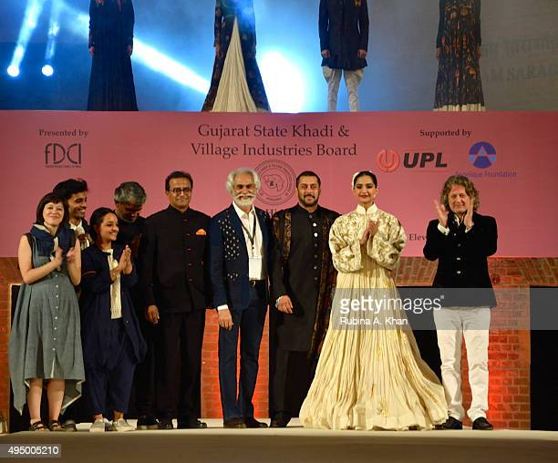 Sunil Sethi, FDCI President with Salman Khan and Sonam Kapoor and designers, Rohit Bal, Rajesh Pratap Singh, Pero by Aneeth Arora and 11.11 at the...