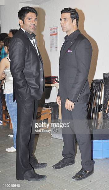 Sunil Shetty and Akshay Kumar during a wedding ceremony and promotion of their latest film 'Thank You' at Madh Island Mumbai