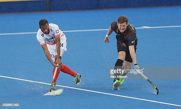 Sunil Sowmarpet during the FIH Mens Hero Hockey Champions Trophy match between Belgium and India at Queen Elizabeth Olympic Park on June 13 2016 in...