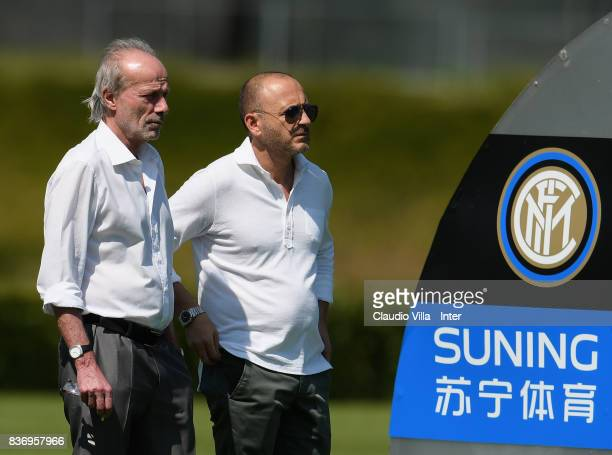 Suning Sports Technical Director Walter Sabatini and FC Internazionale Sports Technical Director Piero Ausilo look on during a training session at...