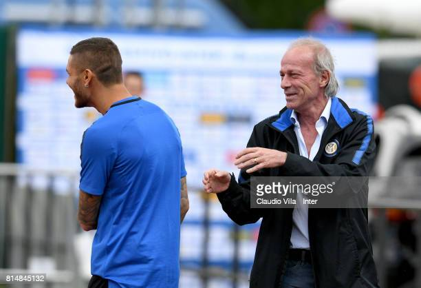 Suning Sports Technical Director Walter Sabatini and Mauro Icardi of FC Internazionale chat during a training session on July 15 2017 in Reischach...