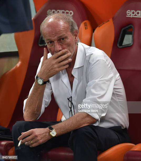 Suning Sports Technical Director Walter Sabatini looks on prior the Serie A match between AS Roma and FC Internazionale at Stadio Olimpico on August...