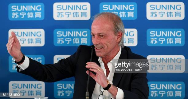 Suning Sports Technical Director Walter Sabatini speaks with the media during a press conference on July 14 2017 in Reischach near Bruneck Italy