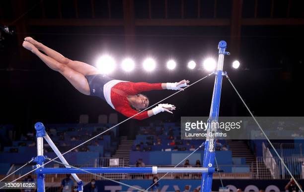 Sunisa Lee of Team United States competes in the uneven bars during the Women's Team Final on day four of the Tokyo 2020 Olympic Games at Ariake...