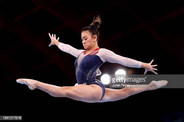 Sunisa Lee of Team United States competes on balance beam during the Women's All-Around Final on day six of the Tokyo 2020 Olympic Games at Ariake...