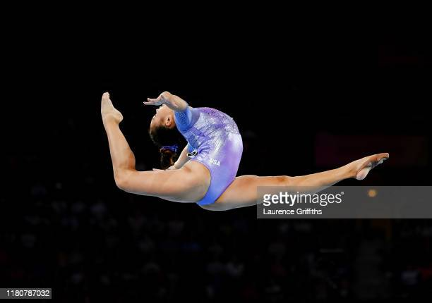 Sunisa Lee of The United States competes in Women's Floor Final during day 10 of the 49th FIG Artistic Gymnastics World Championships at...
