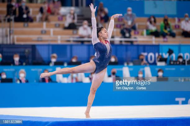 Sunisa Lee of the United States performs her routine on the floor during her gold medal performance in the All-Around Final for Women at Ariake...
