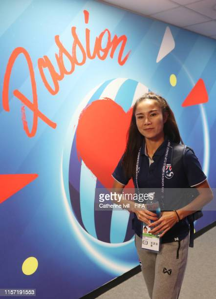 Sunisa Srangthaisong of Thailand arrives prior to the 2019 FIFA Women's World Cup France group F match between Thailand and Chile at Roazhon Park on...