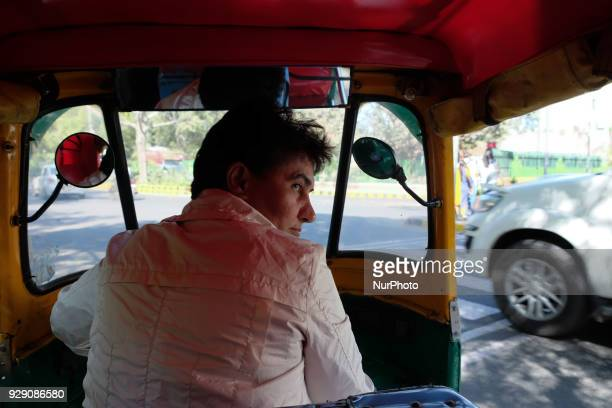 Sunita Choudhary 40 North India's first autorickshaw driver turns her autorickshaw in a street on 6th March 2018 in New Delhi Sunita Choudhary North...