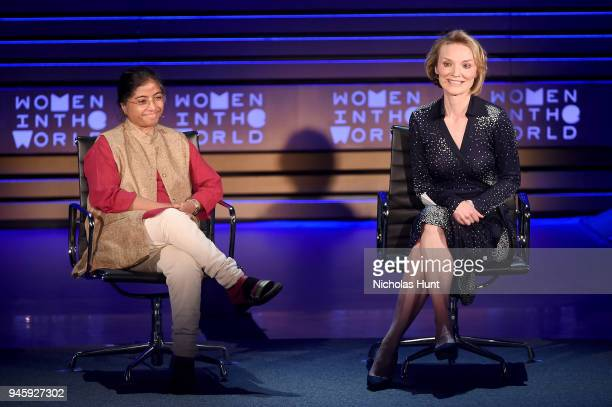 Sunitha Krishnan and Alyse Nelson speak on stage at the 2018 Women In The World Summit at Lincoln Center on April 13 2018 in New York City
