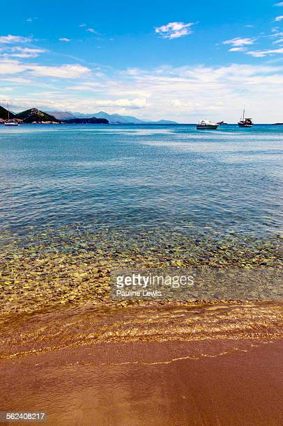 sunj beach on lopud island - bay of water stock pictures, royalty-free photos & images