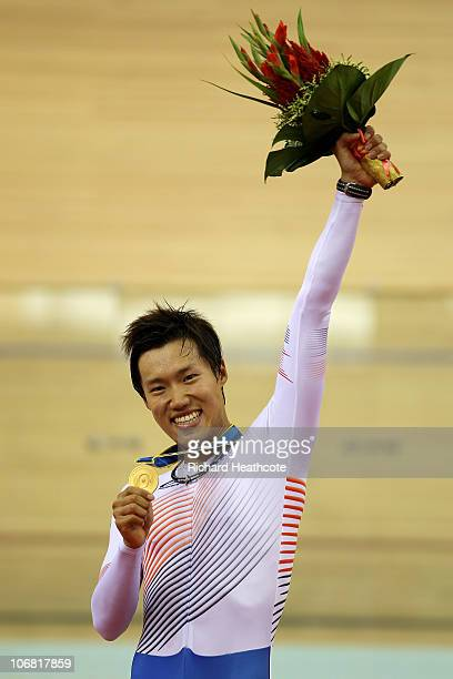Sunjae Jang of South Korea wins gold in the Men's Individual Pursuit 4000m at the Guangzhou Velodrome during day two of the 16th Asian Games...